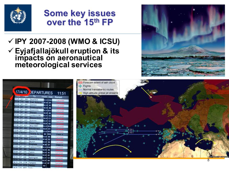 8 IPY 2007-2008 (WMO & ICSU) Eyjafjallajökull eruption & its impacts on aeronautical meteorological services Some key issues over the 15 th FP