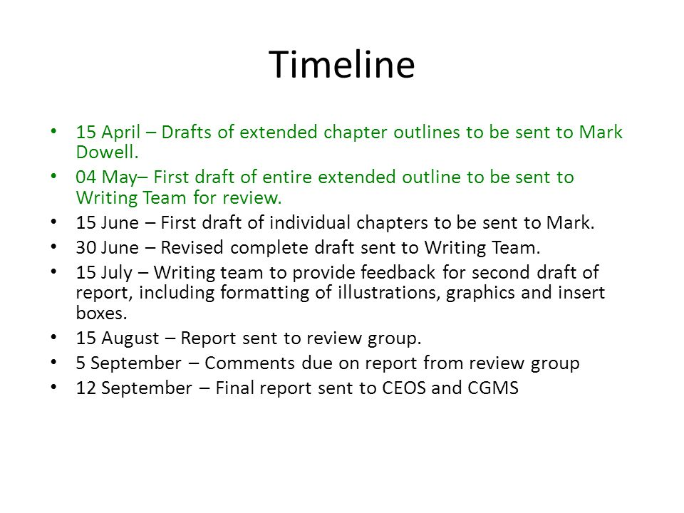 Timeline 15 April – Drafts of extended chapter outlines to be sent to Mark Dowell.
