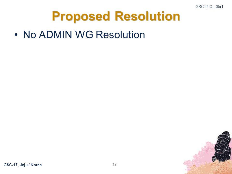 GSC17-CL-05r1 GSC-17, Jeju / Korea 13 Proposed Resolution No ADMIN WG Resolution