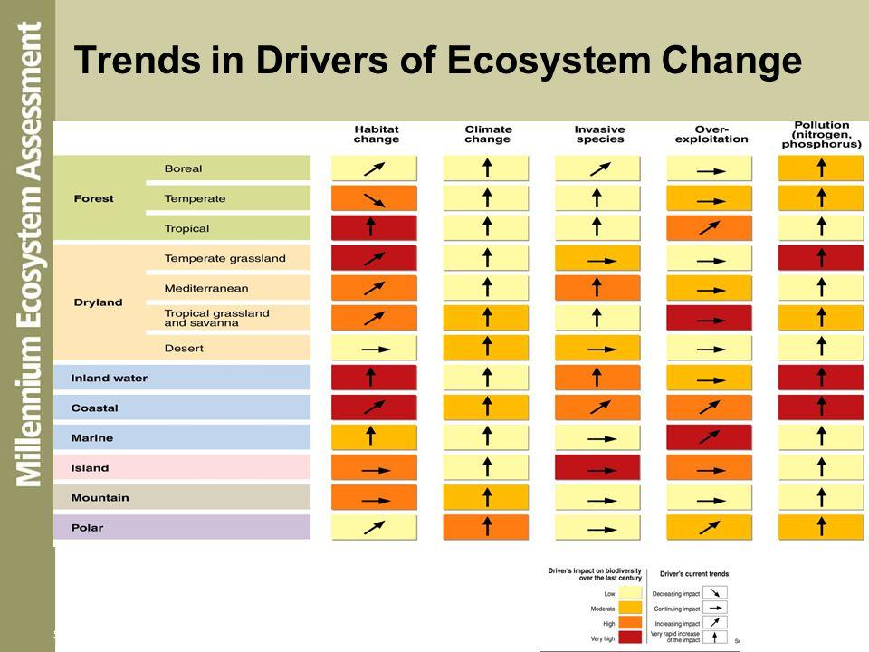 Trends in Drivers Source: Millennium Ecosystem Assessment Trends in Drivers of Ecosystem Change