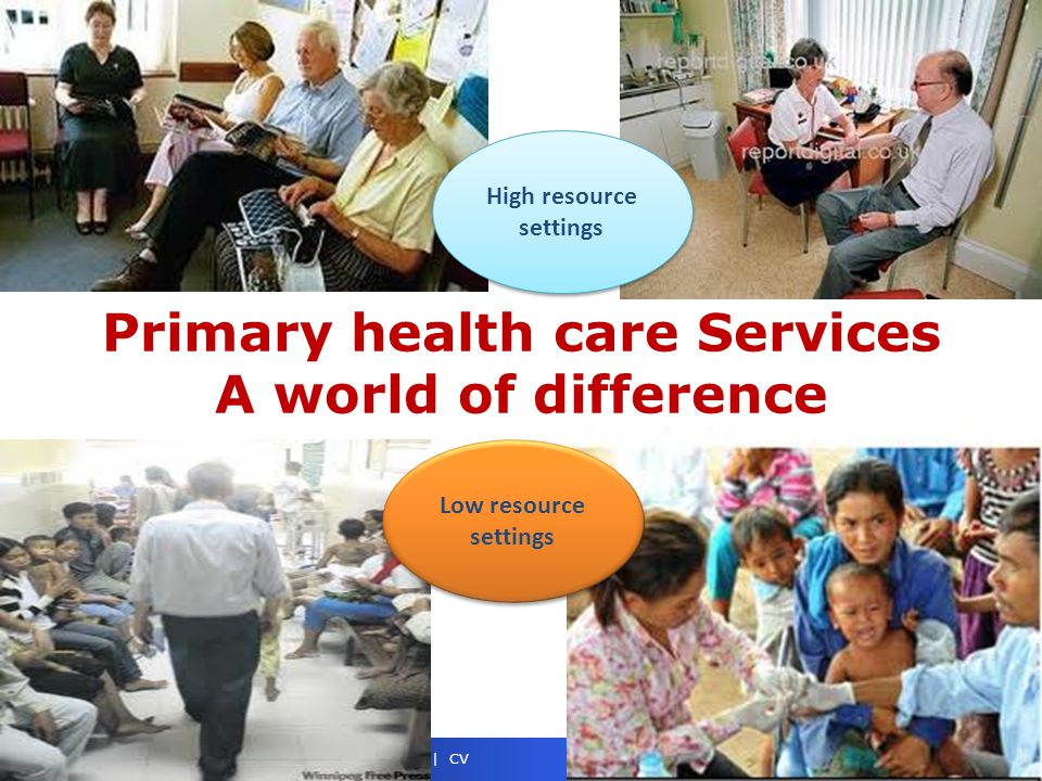 Noncommunicable Diseases & Health Promotion NCD Management | March 2014 | 5 | CV Primary health care Services A world of difference High resource settings Low resource settings