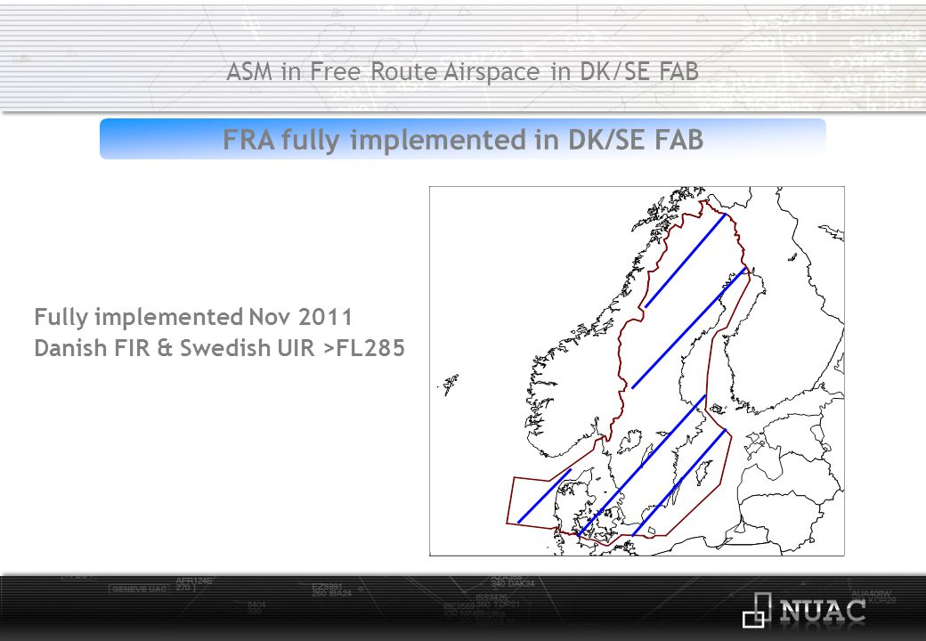 ASM/ATC Denmark ASM in Free Route Airspace in DK/SE FAB Available tools:CDR1/CDR2/CDR3 & TSA/TRA/R-/D-areas Flexible Airspace Structures and Procedures: AMC manageable:CDR1/CDR2 & TSA/R-/D-areas Level 3 tactical ASM/ATC:TRA & CDR3
