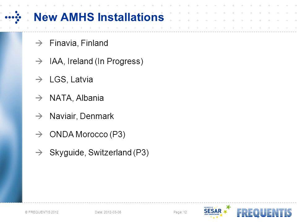 © FREQUENTIS 2012 Date: 2012-03-05Page: 12 New AMHS Installations  Finavia, Finland  IAA, Ireland (In Progress)  LGS, Latvia  NATA, Albania  Navi