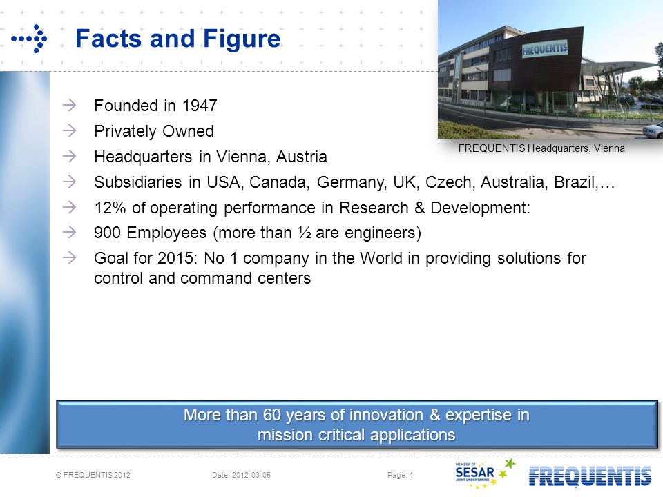 © FREQUENTIS 2012 Date: 2012-03-05Page: 4 More than 60 years of innovation & expertise in mission critical applications Facts and Figure FREQUENTIS He