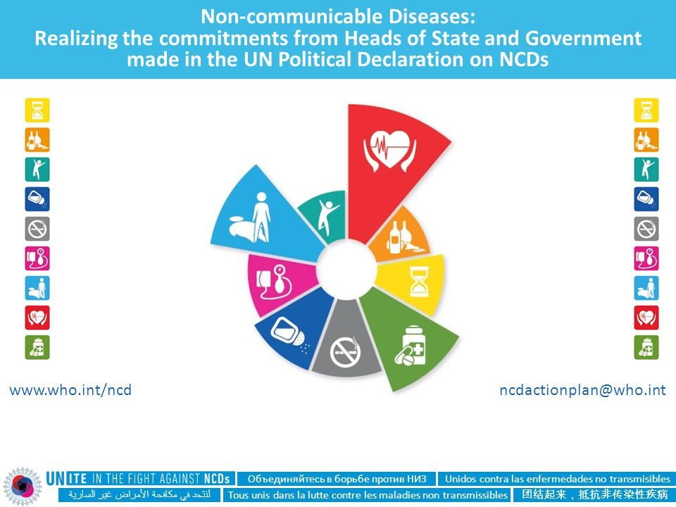 Non-communicable Diseases: Realizing the commitments from Heads of State and Government made in the UN Political Declaration on NCDs لنتحد في مكافحة ا
