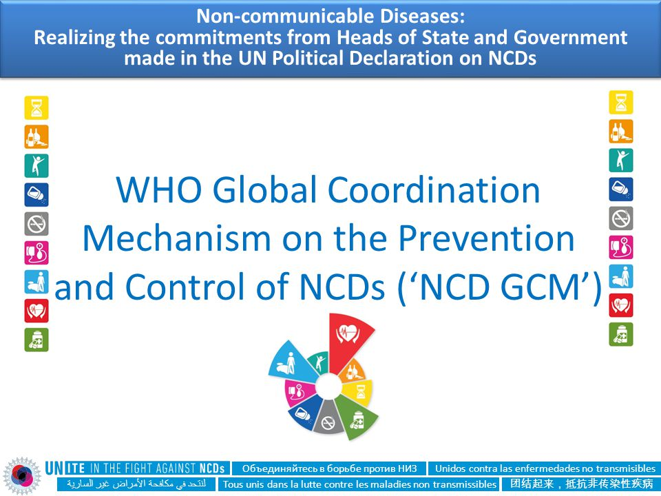 WHO Global Coordination Mechanism on the Prevention and Control of NCDs ('NCD GCM') لنتحد في مكافحة الأمراض غير السارية Unidos contra las enfermedades
