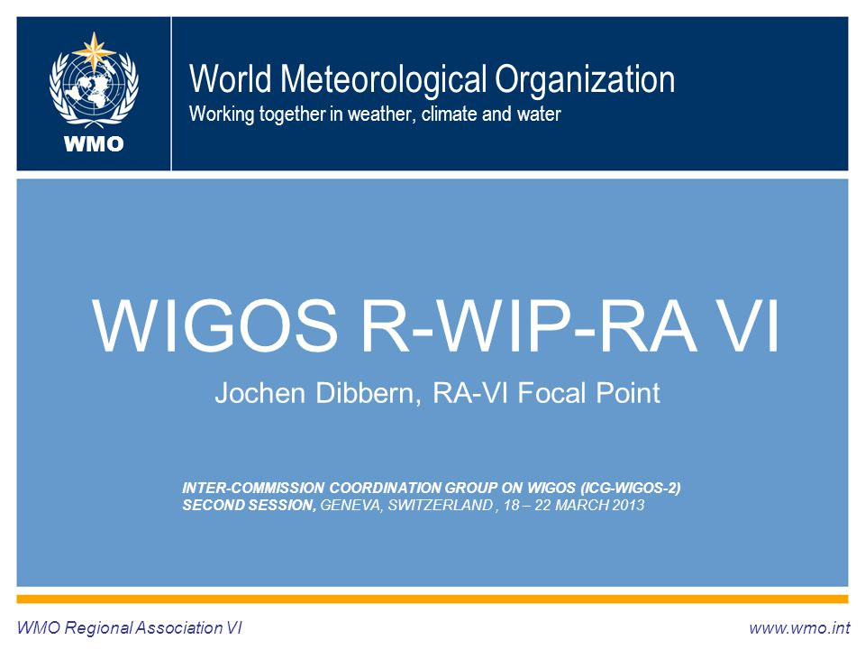 World Meteorological Organization Working together in weather, climate and water WIGOS R-WIP-RA VI Jochen Dibbern, RA-VI Focal Point WMO Regional Asso