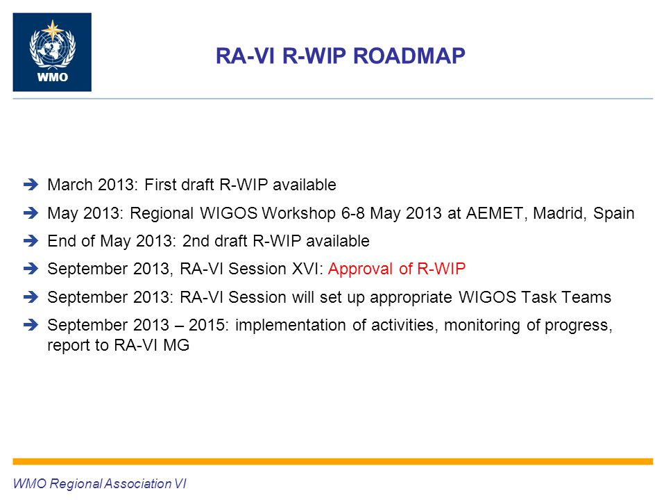 RA-VI R-WIP ROADMAP WMO  March 2013: First draft R-WIP available  May 2013: Regional WIGOS Workshop 6-8 May 2013 at AEMET, Madrid, Spain  End of May 2013: 2nd draft R-WIP available  September 2013, RA-VI Session XVI: Approval of R-WIP  September 2013: RA-VI Session will set up appropriate WIGOS Task Teams  September 2013 – 2015: implementation of activities, monitoring of progress, report to RA-VI MG WMO Regional Association VI