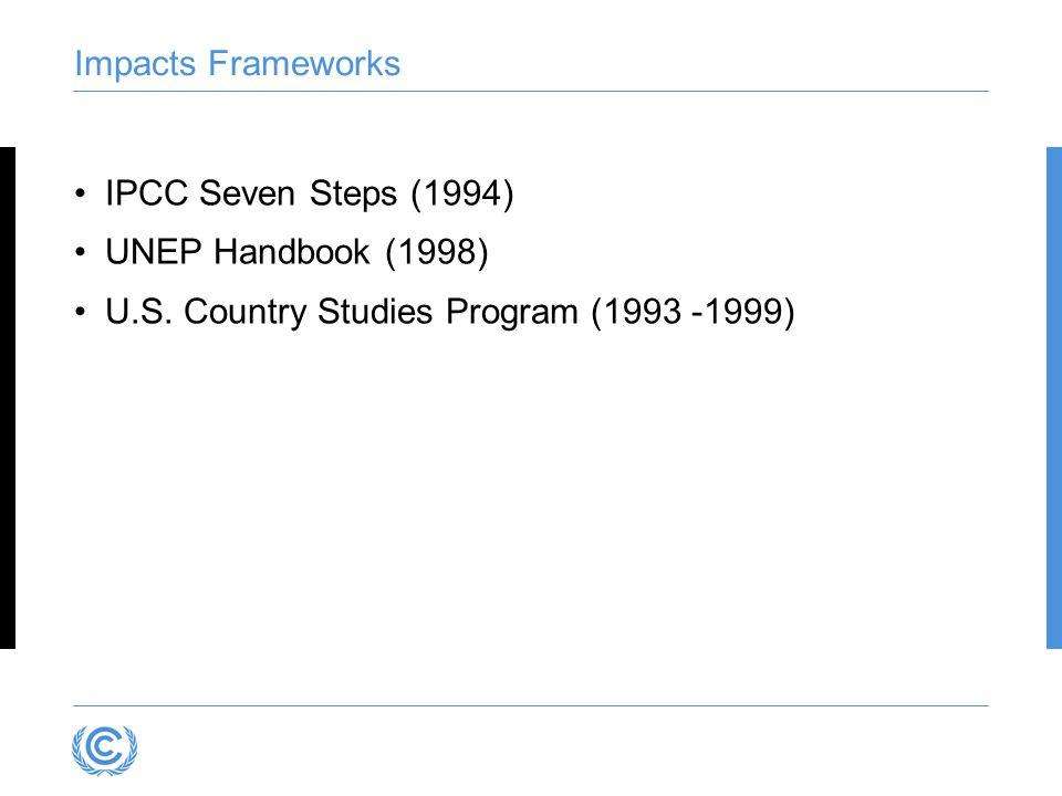 Impacts Frameworks IPCC Seven Steps (1994) UNEP Handbook (1998) U.S. Country Studies Program (1993 -1999)