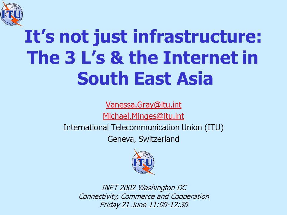 South East Asia Digital Divide Internet use = Infrastructure ++ AffordabilityHuman skills