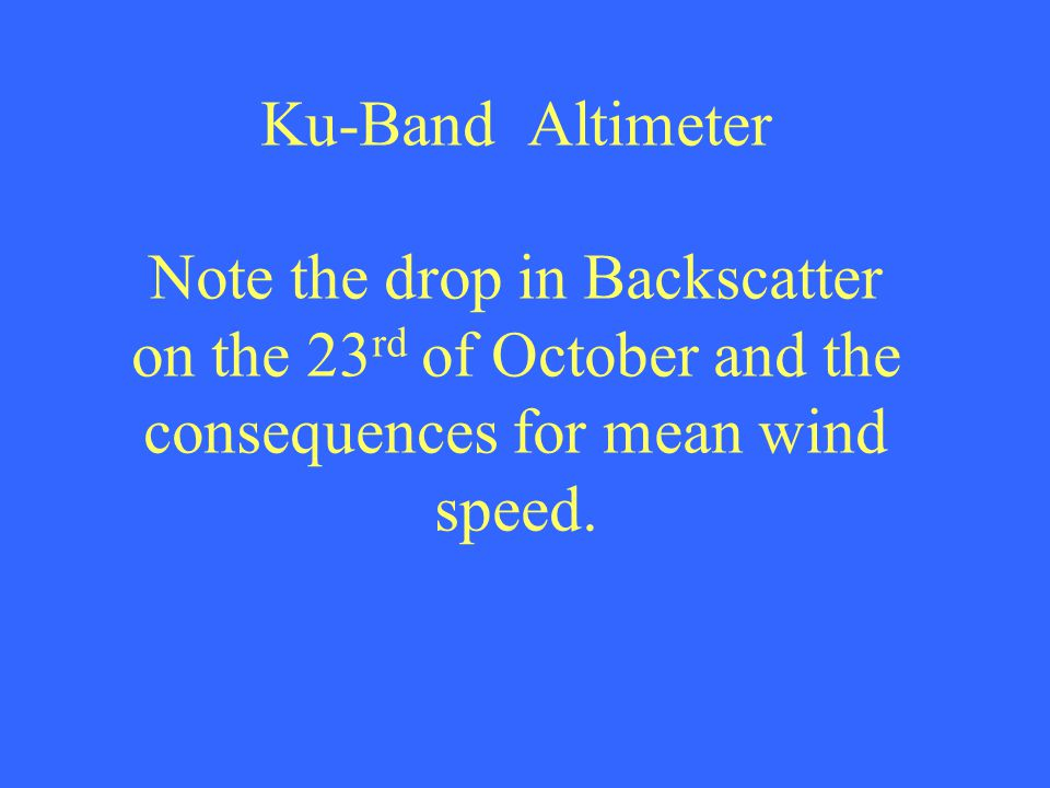 Ku-Band Altimeter Note the drop in Backscatter on the 23 rd of October and the consequences for mean wind speed.