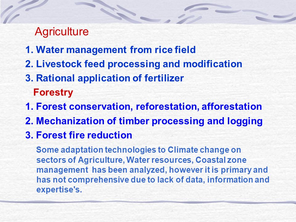 Agriculture 1. Water management from rice field 2.