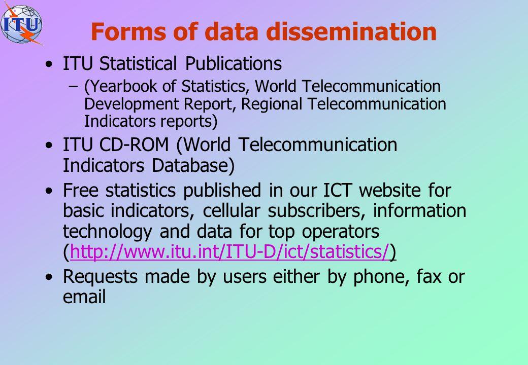 Forms of data dissemination ITU Statistical Publications –(Yearbook of Statistics, World Telecommunication Development Report, Regional Telecommunicat