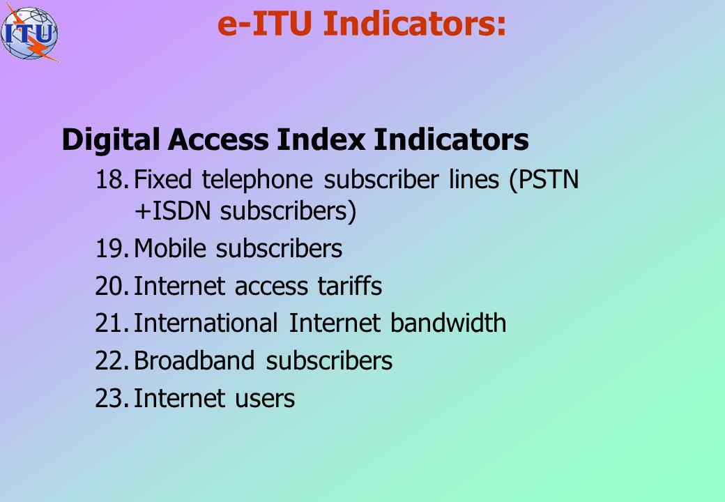 e-ITU Indicators: Digital Access Index Indicators 18.Fixed telephone subscriber lines (PSTN +ISDN subscribers) 19.Mobile subscribers 20.Internet acces