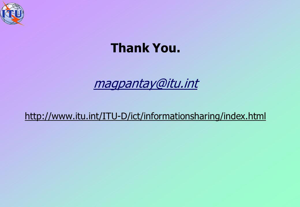 Thank You. magpantay@itu.int http://www.itu.int/ITU-D/ict/informationsharing/index.html