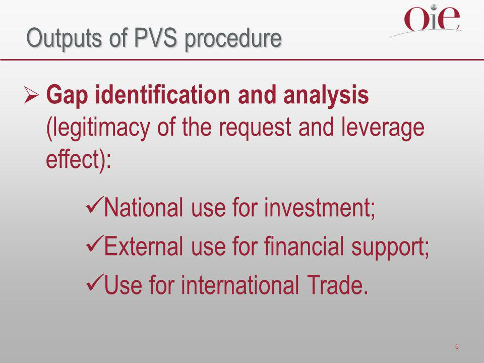 6 Outputs of PVS procedure  Gap identification and analysis (legitimacy of the request and leverage effect): National use for investment; External use for financial support; Use for international Trade.