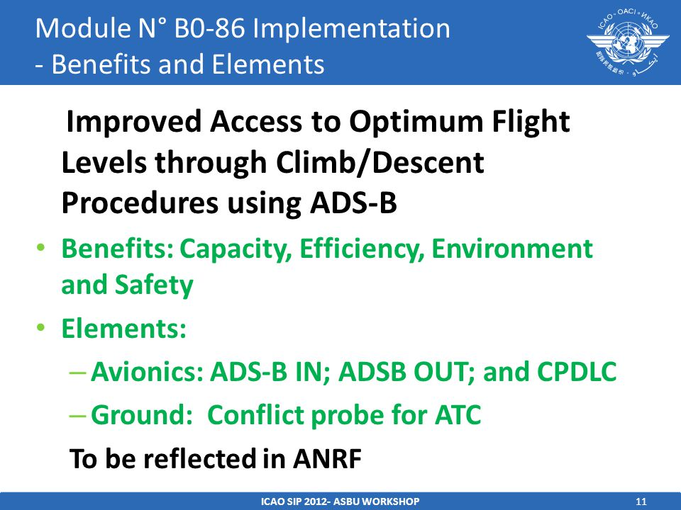 11 Improved Access to Optimum Flight Levels through Climb/Descent Procedures using ADS-B Benefits: Capacity, Efficiency, Environment and Safety Elemen