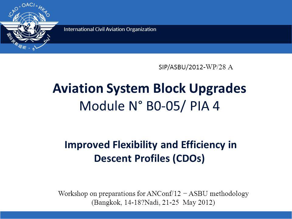 2 Module N° B0-05 Improved Flexibility and Efficiency in Descent Profiles (CDOs) ICAO SIP 2012-ASBU Workshop.
