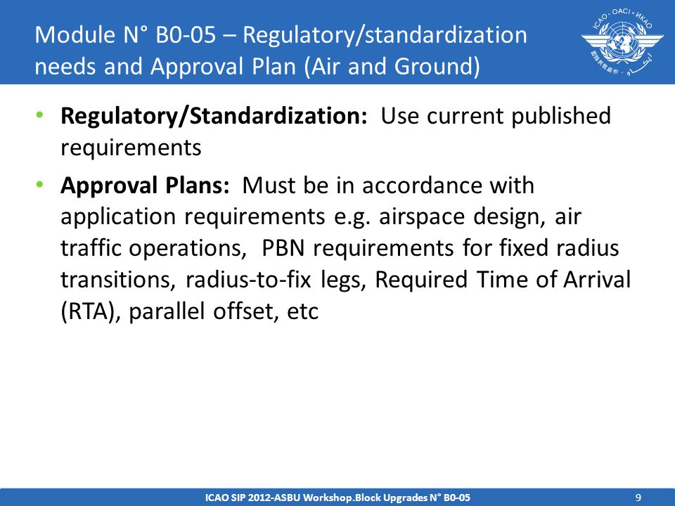 10 Standards – For flight plan requirements in Amendment 1, ICAO Document 4444; PANS/ATM v15 Procedures Guidance Material – ICAO Doc 9613, Performance-based Navigation (PBN) Manual; ICAO Doc 9931, Continuous Descent Operations (CDO) Manual;.