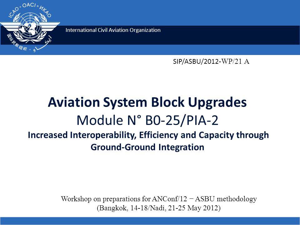 2 Module N° B0-25 Increased Interoperability, Efficiency and Capacity through Ground-Ground Integration ICAO SIP 2012-ASBU WORKSHOP Summary To improve coordination between ATS Units by using AIDC.