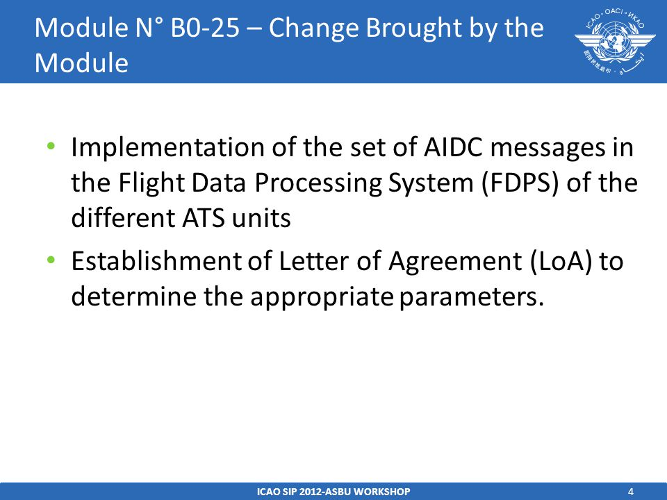 5ICAO SIP 2012-ASBU WORKSHOP Module N° B0-25 – Intended performance Operational Improvement Capacity-Reduced controller workload -Increased data integrity supporting - Reduced separations translating directly to cross sector or boundary capacity flow increases.