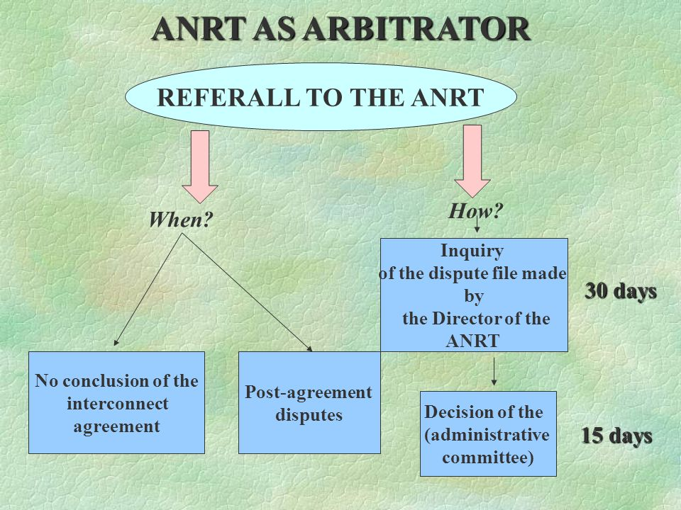 THE ROLE OF ANRT Ensure clear terms, conditions and fair prices for interconnection Make sure that the interconnect agreement is in accordance with the interconnection decree and approve the interconnection offer Impose sanctions and penalties for violation of regulation Play a role of arbitrator in the interconnect dispute