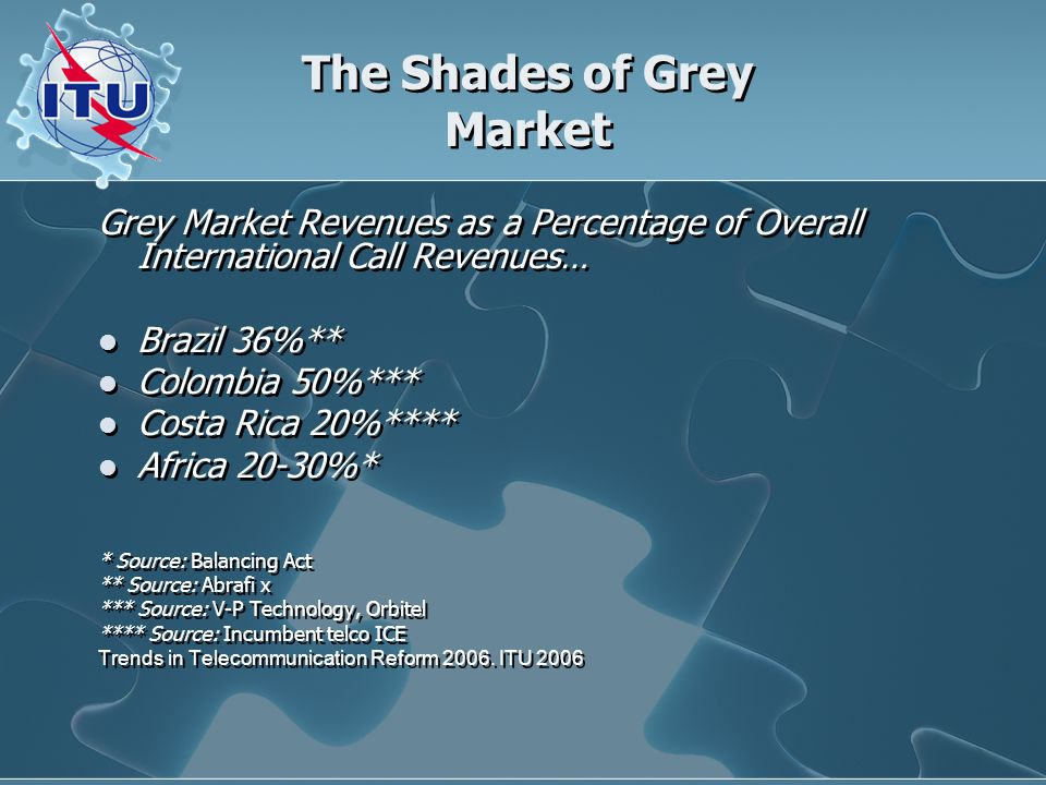 The Shades of Grey Market Grey Market Revenues as a Percentage of Overall International Call Revenues… Brazil 36%** Colombia 50%*** Costa Rica 20%**** Africa 20-30%* * Source: Balancing Act ** Source: Abrafi x *** Source: V-P Technology, Orbitel **** Source: Incumbent telco ICE Trends in Telecommunication Reform 2006.