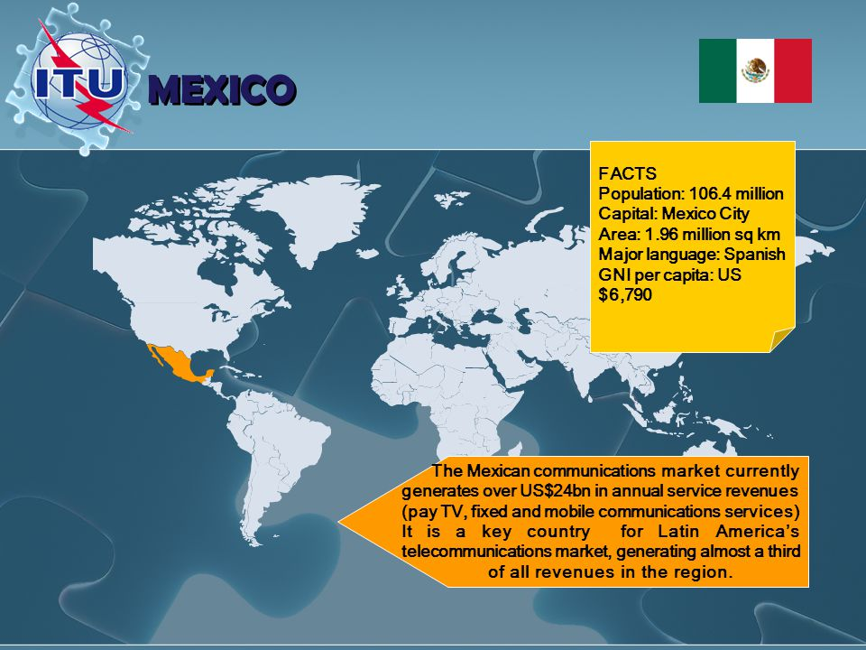 MEXICO The Mexican communications market currently generates over US$24bn in annual service revenues (pay TV, fixed and mobile communications services