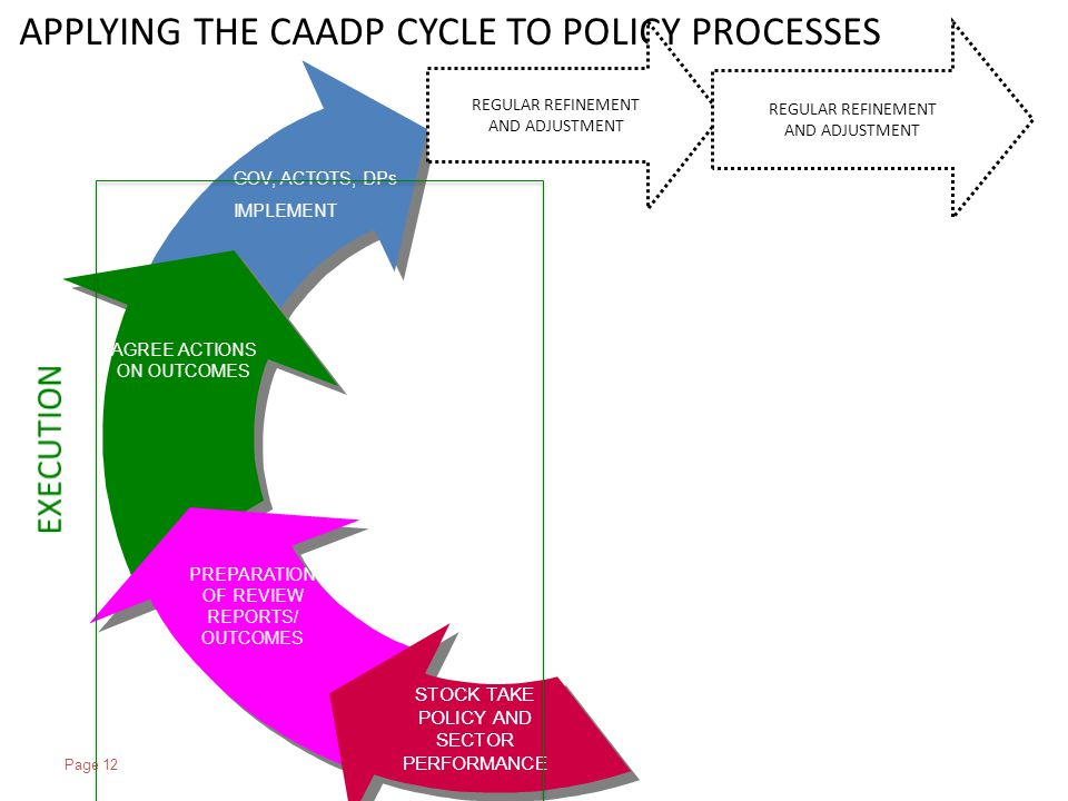 Page 12 GOV, ACTOTS, DPs IMPLEMENT AGREE ACTIONS ON OUTCOMES PREPARATION OF REVIEW REPORTS/ OUTCOMES STOCK TAKE POLICY AND SECTOR PERFORMANCE APPLYING THE CAADP CYCLE TO POLICY PROCESSES REGULAR REFINEMENT AND ADJUSTMENT REGULAR REFINEMENT AND ADJUSTMENT
