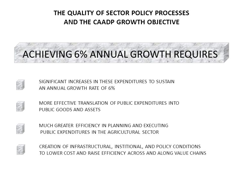 THE QUALITY OF SECTOR POLICY PROCESSES AND THE CAADP GROWTH OBJECTIVE ACHIEVING 6% ANNUAL GROWTH REQUIRES MUCH GREATER EFFICIENCY IN PLANNING AND EXECUTING PUBLIC EXPENDITURES IN THE AGRICULTURAL SECTOR SIGNIFICANT INCREASES IN THESE EXPENDITURES TO SUSTAIN AN ANNUAL GROWTH RATE OF 6% MORE EFFECTIVE TRANSLATION OF PUBLIC EXPENDITURES INTO PUBLIC GOODS AND ASSETS CREATION OF INFRASTRUCTURAL, INSTITIONAL, AND POLICY CONDITIONS TO LOWER COST AND RAISE EFFICIENCY ACROSS AND ALONG VALUE CHAINS