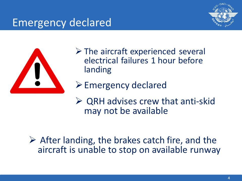 4 Emergency declared  The aircraft experienced several electrical failures 1 hour before landing  Emergency declared  QRH advises crew that anti-skid may not be available  After landing, the brakes catch fire, and the aircraft is unable to stop on available runway
