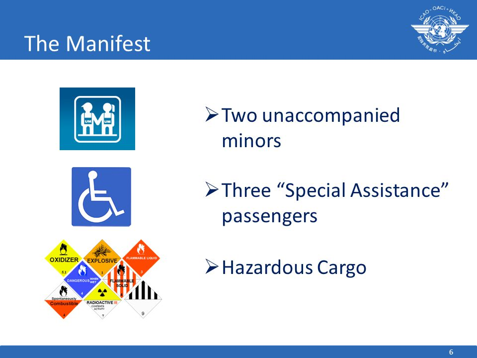 6 The Manifest  Two unaccompanied minors  Three Special Assistance passengers  Hazardous Cargo