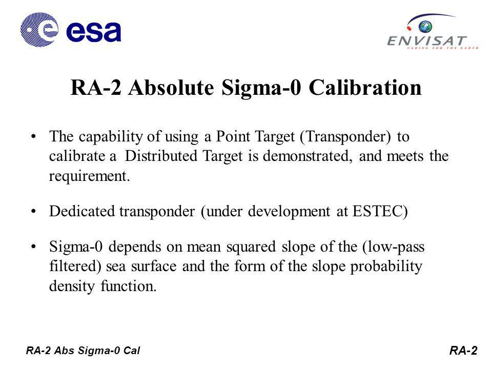 RA-2 The capability of using a Point Target (Transponder) to calibrate a Distributed Target is demonstrated, and meets the requirement.