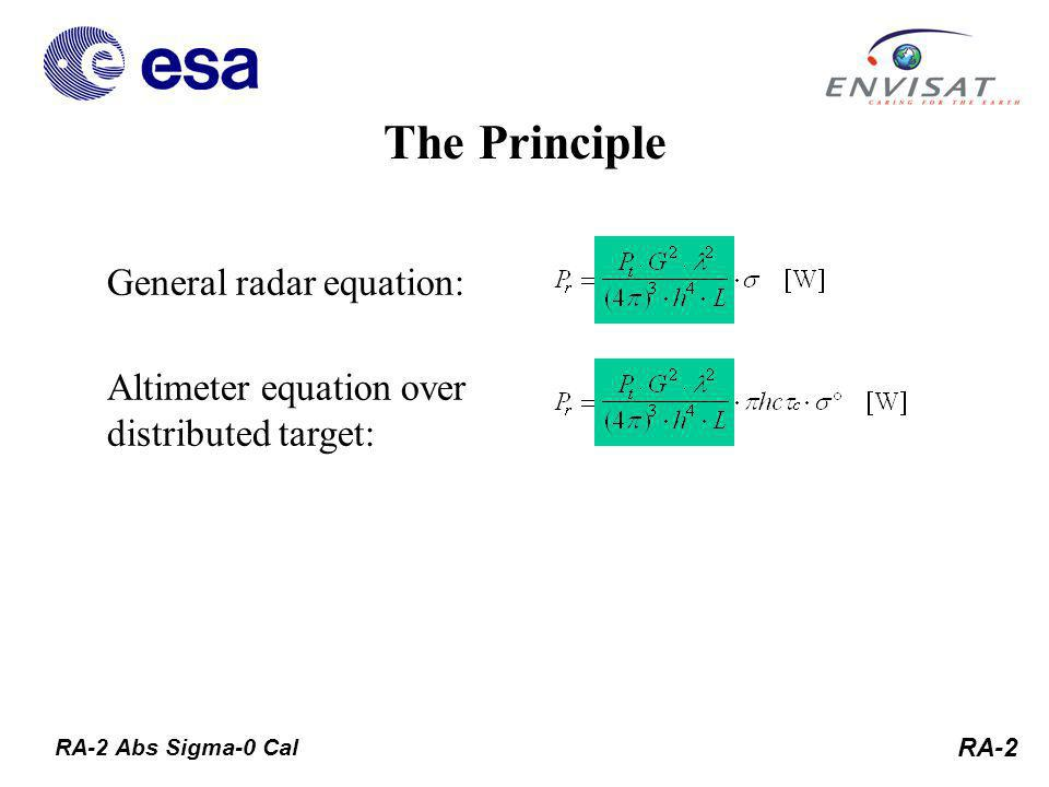 RA-2 General radar equation: Altimeter equation over distributed target: The Principle RA-2 Abs Sigma-0 Cal