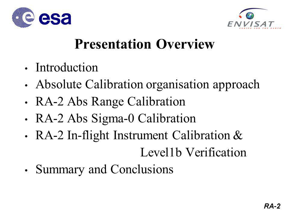 RA-2 Parameter Optimisation Example RA-2 In-flight Instr Cal & Level 1b Verif After Seymour Laxon, MSSL/UCL tekton