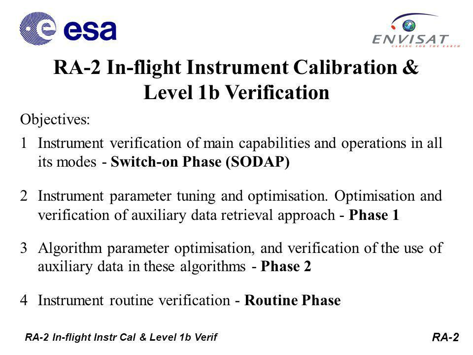 RA-2 RA-2 In-flight Instrument Calibration & Level 1b Verification RA-2 In-flight Instr Cal & Level 1b Verif Objectives: 1Instrument verification of main capabilities and operations in all its modes - Switch-on Phase (SODAP) 2Instrument parameter tuning and optimisation.