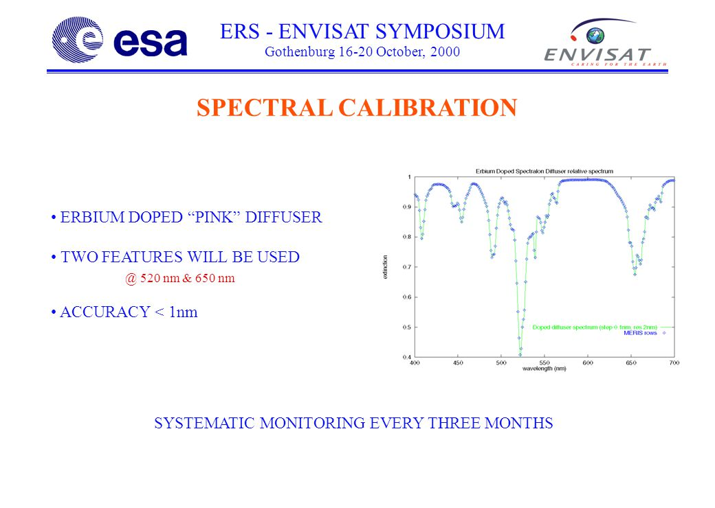 ERS - ENVISAT SYMPOSIUM Gothenburg October, 2000 SPECTRAL CALIBRATION ERBIUM DOPED PINK DIFFUSER TWO FEATURES WILL BE 520 nm & 650 nm ACCURACY < 1nm SYSTEMATIC MONITORING EVERY THREE MONTHS