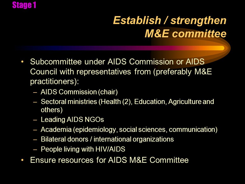 M&E Situation Analysis Objectives and Contents Objectives: –To identify existing M&E practices, indicators, and data sources for HIV/AIDS in each sector –To identify gaps where indicators will need to be developed and data sources identified for the M&E plan of the national AIDS program –To assess M&E capacity and needs for capacity development Includes: –multiple sectors, donors, NGOs and private sector; –dissemination as M&E practice –assessment of different levels (community, district, regional, national) Stage 2