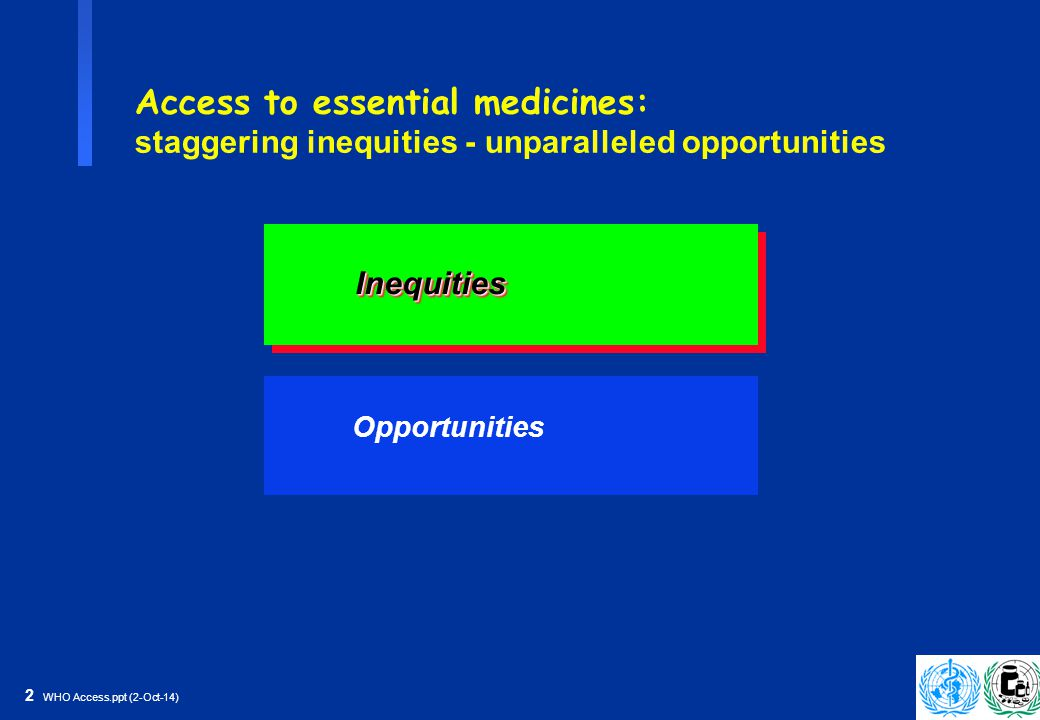 13 WHO Access.ppt (2-Oct-14) The WHO Model List of Essential Medicines is a model process, model product and public health tool The WHO Essential Medicines Library WHO Model List Summary of clinical guidelines Reasons for inclusion Systematic reviews Key references WHO Model Formulary Cost: - per unit - per treatment - per month - per case prevented Quality information: - Basic quality tests - Intern.