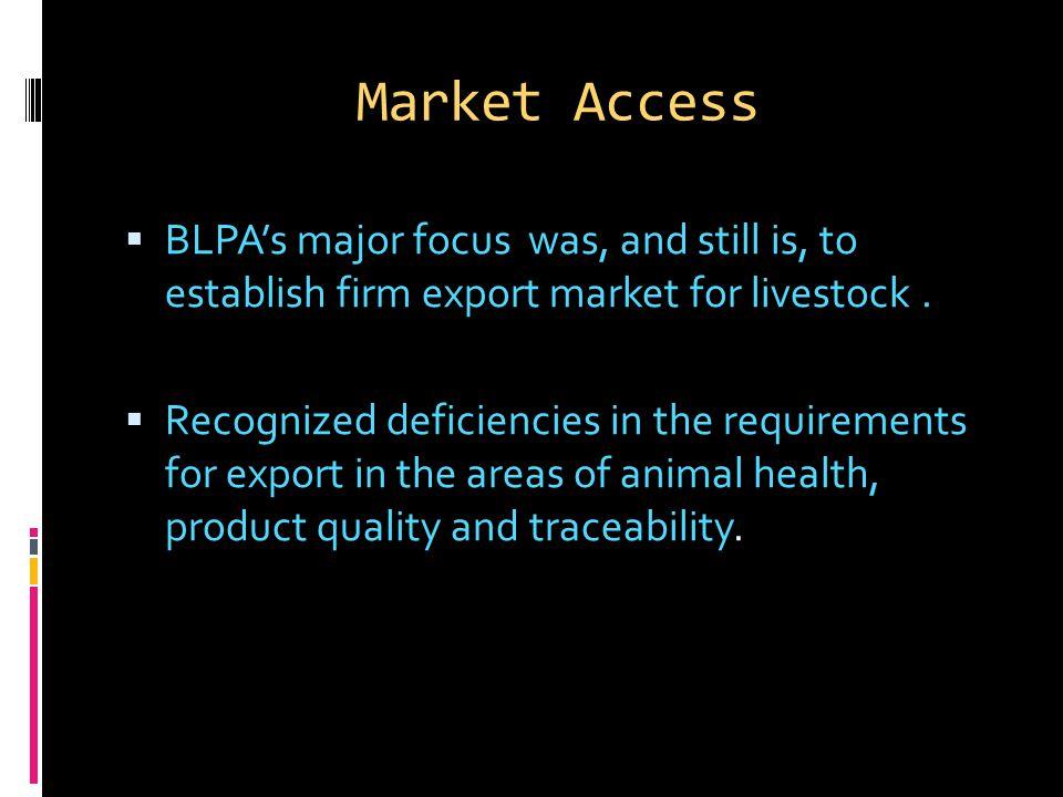 Market Access  BLPA's major focus was, and still is, to establish firm export market for livestock.