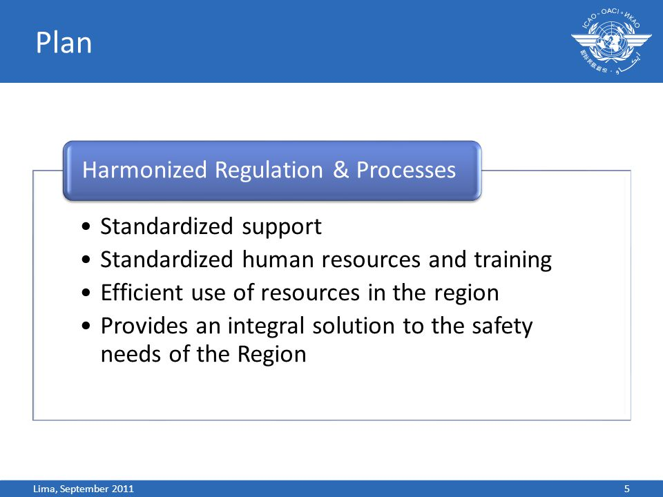 Plan Standardized support Standardized human resources and training Efficient use of resources in the region Provides an integral solution to the safety needs of the Region Harmonized Regulation & Processes 5Lima, September 2011