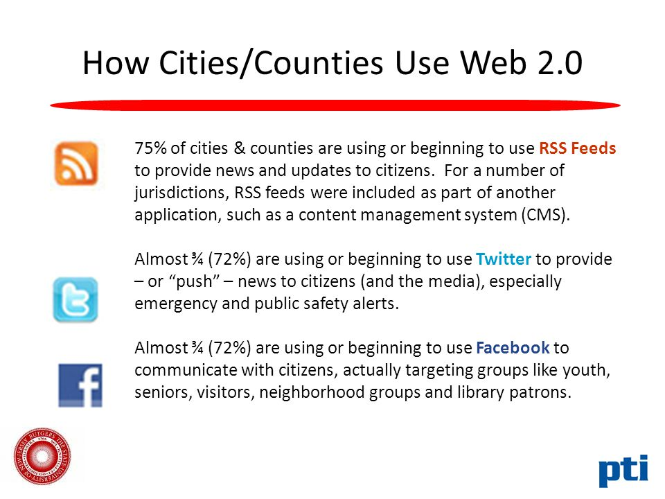 How Cities/Counties Use Web 2.0 75% of cities & counties are using or beginning to use RSS Feeds to provide news and updates to citizens.