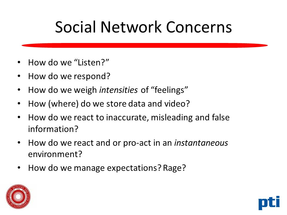 Social Network Concerns How do we Listen How do we respond.