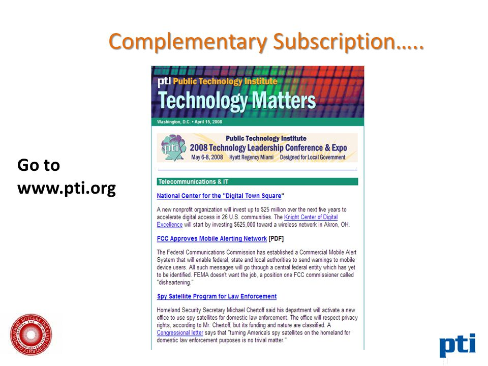 Complementary Subscription….. Go to www.pti.org
