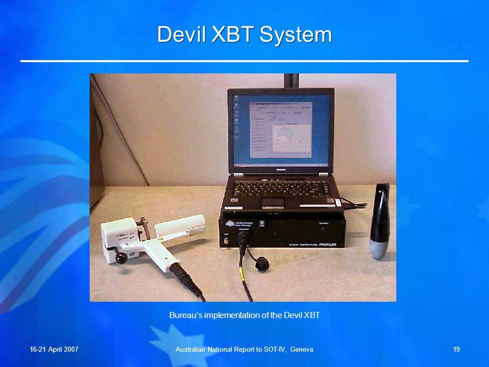 16-21 April 2007Australian National Report to SOT-IV, Geneva18 Shipboard XBT System AgencyProbe TypeInterfaceAcquisition Software Bureau Deep BlueUSB