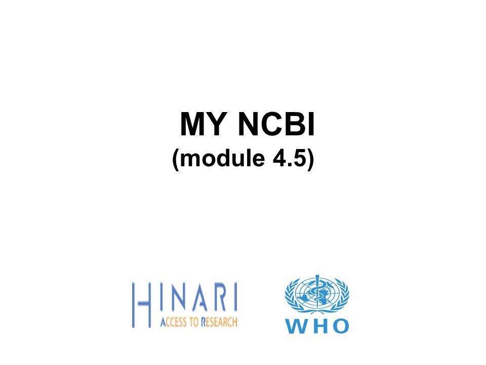 MY NCBI (module 4.5)