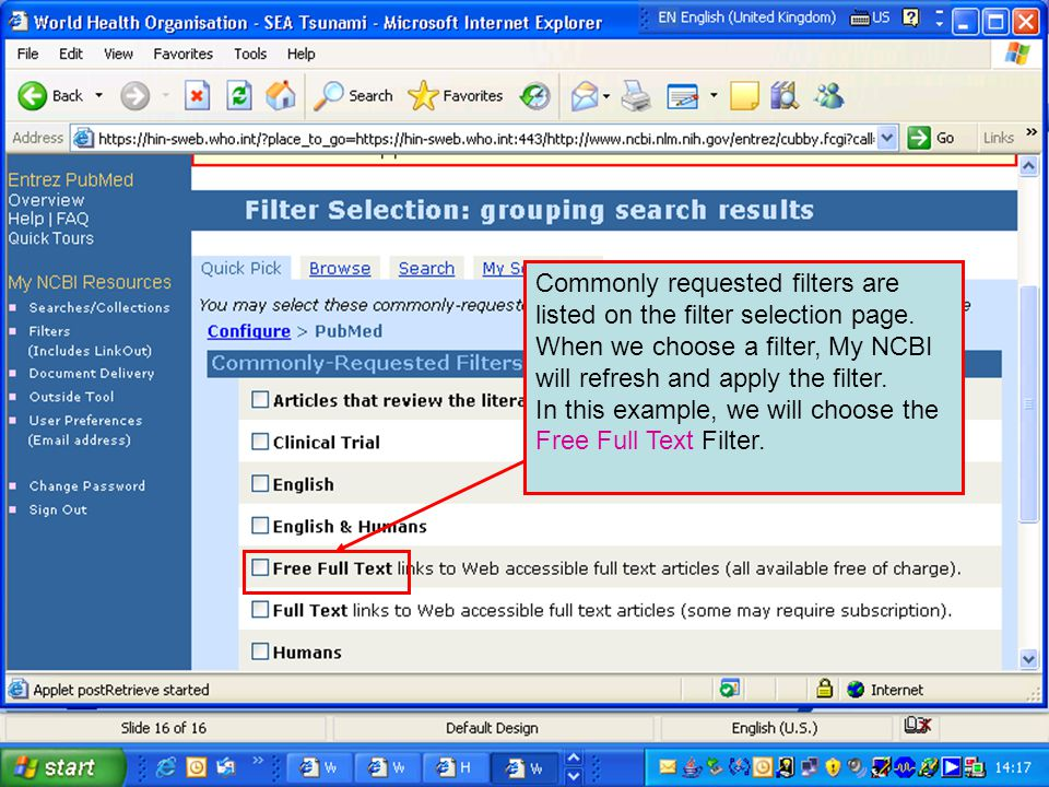 Commonly requested filters are listed on the filter selection page.