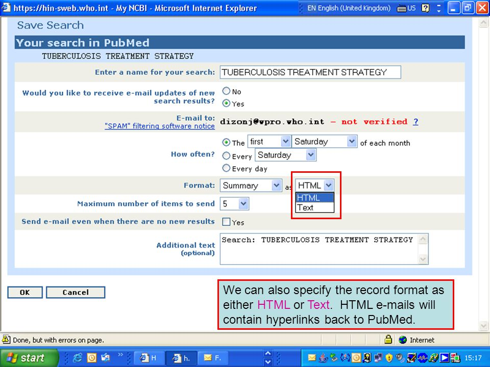 We can also specify the record format as either HTML or Text.
