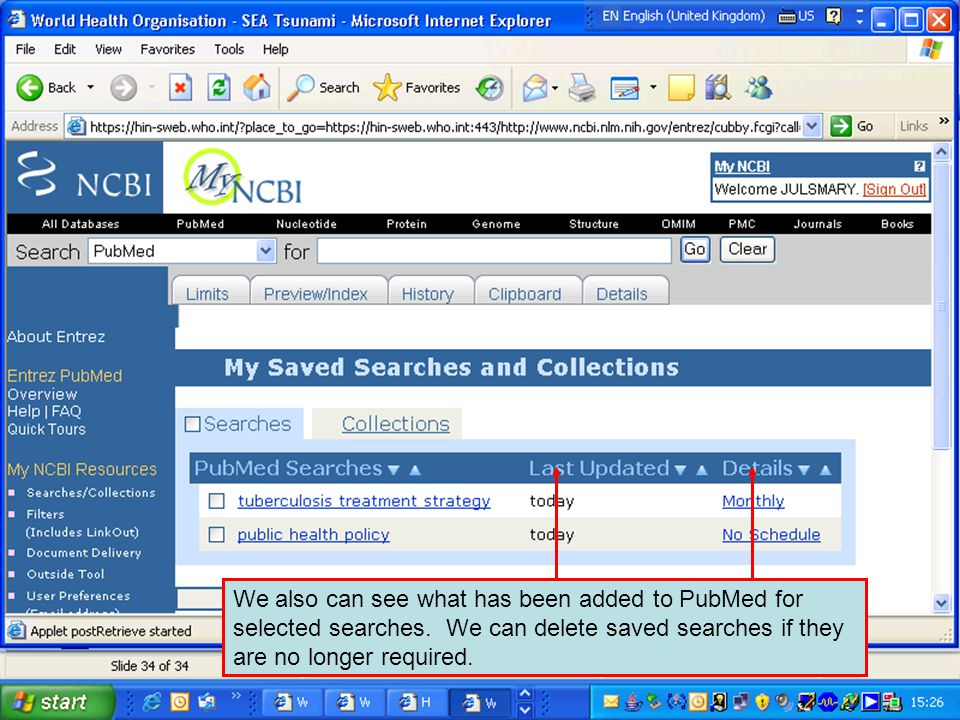 We also can see what has been added to PubMed for selected searches.