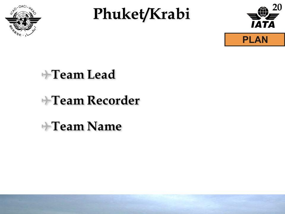 Phuket/KrabiPhuket/Krabi ✈ Team Lead ✈ Team Recorder ✈ Team Name ✈ Team Lead ✈ Team Recorder ✈ Team Name 20